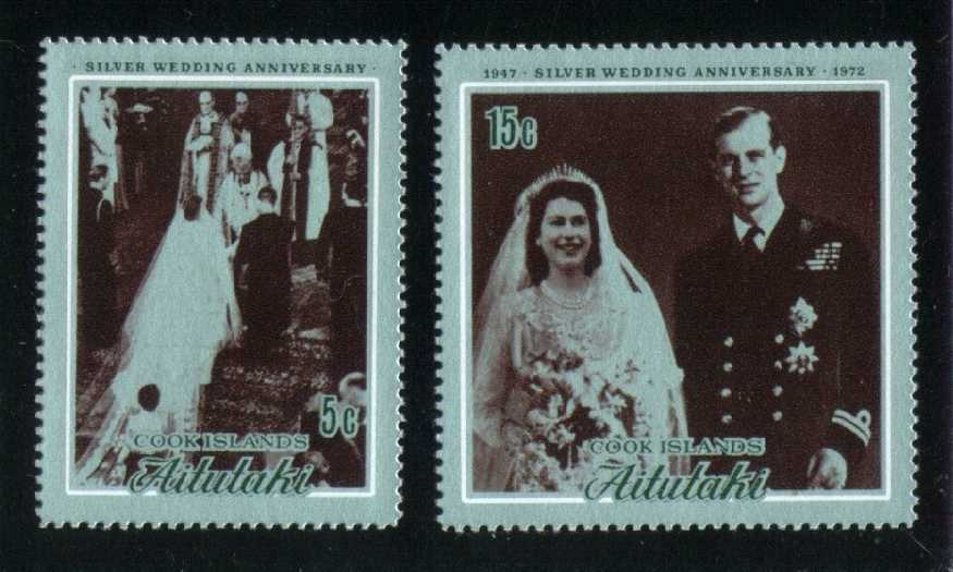 Aitutaki #51-52 Silver Wedding Set; MNH (5.00)