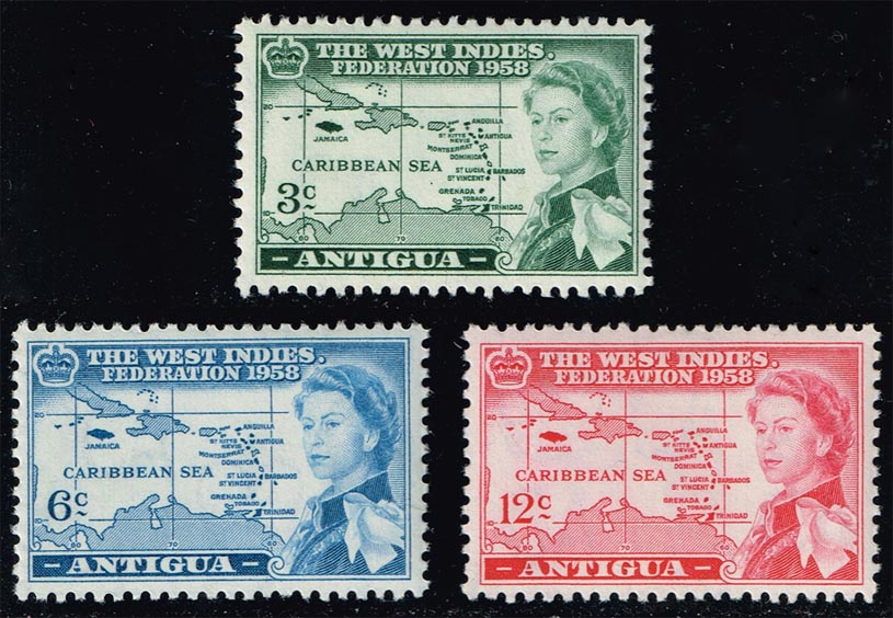 Antigua #122-124 West Indies Fed. Set of 3; Unused (6.00)