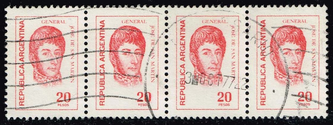 Argentina #1097 Jose de San Martin; Used Strip of 4 (1.00)