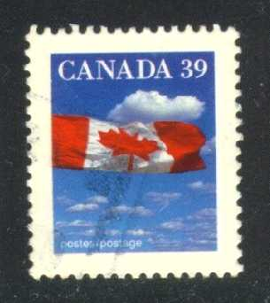 Canada #1166 Flag and Clouds, used (0.25)