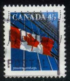 Canada #1361c Flag and Building, used (0.25)