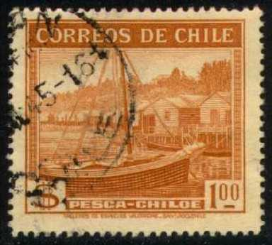 Chile #223 Fishing in Chiloe, used (0.25)