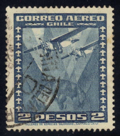 Chile #C40 Two Airplanes over Globe, used (0.25)