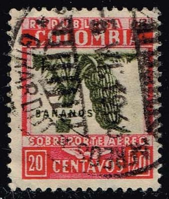 Colombia #C100 Bananas; used (0.25)
