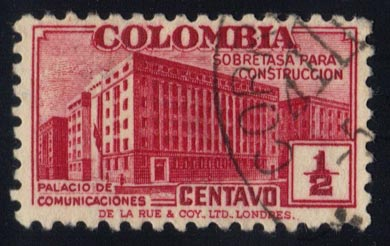 Colombia #RA9 Postal Tax for Comm. Bldg; used (0.25)