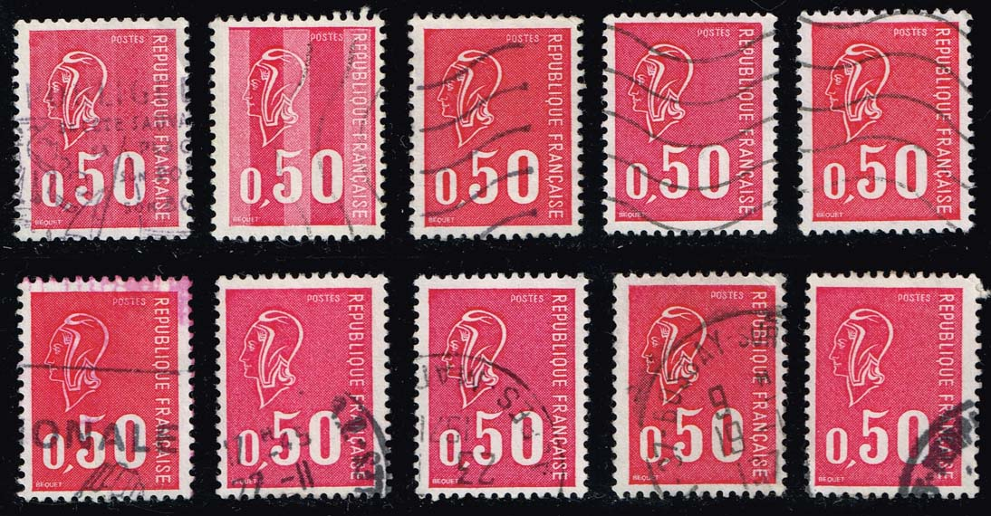 France #1293 Marianne Lot of 10; Used (2.50)