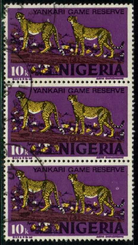 Nigeria #297b Leopards, used strip of 3 (0.75)