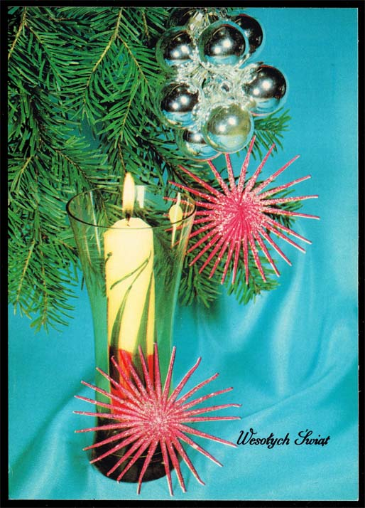 Poland Postcard - Christmas Tree Ornaments & Candle