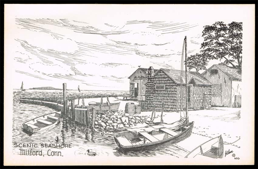 US Postcard - Millford Connecticut - Scenic Seashore Sketch