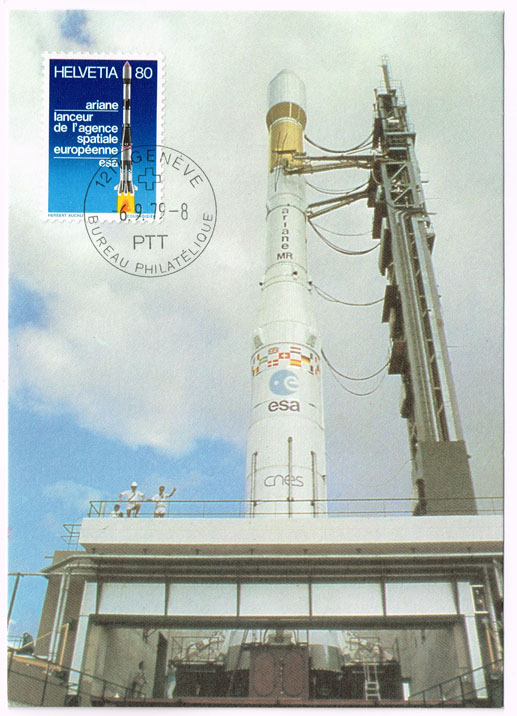 Switzerland #680 Arianne Rocket FDC on Maxi Card