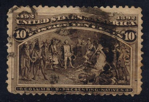 US #237 Columbus Presenting Natives, used (9.00)