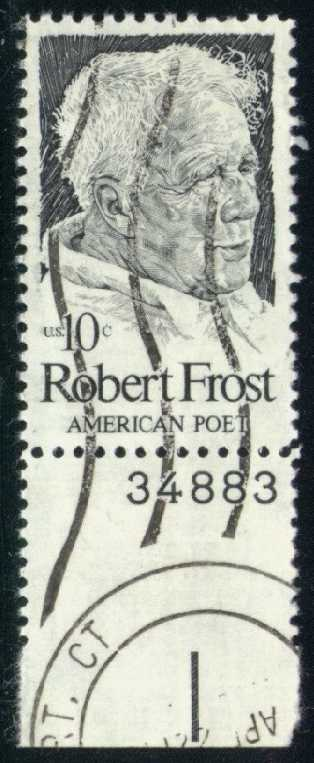 US #1526 Robert Frost, used plate # single (0.25)