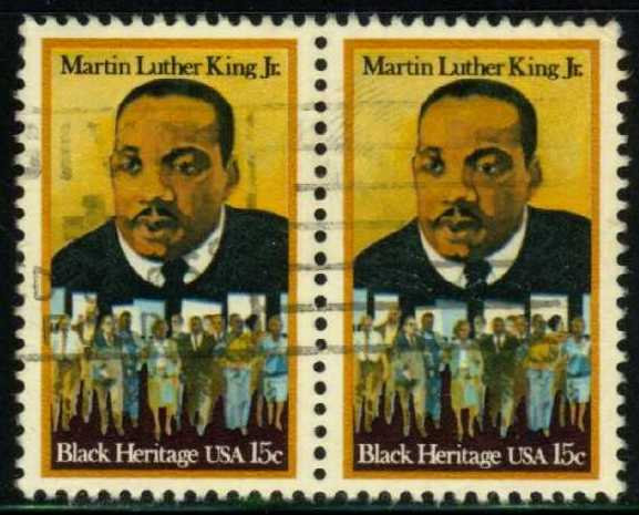 US #1771 Martin Lither King Jr., used pair (0.50)
