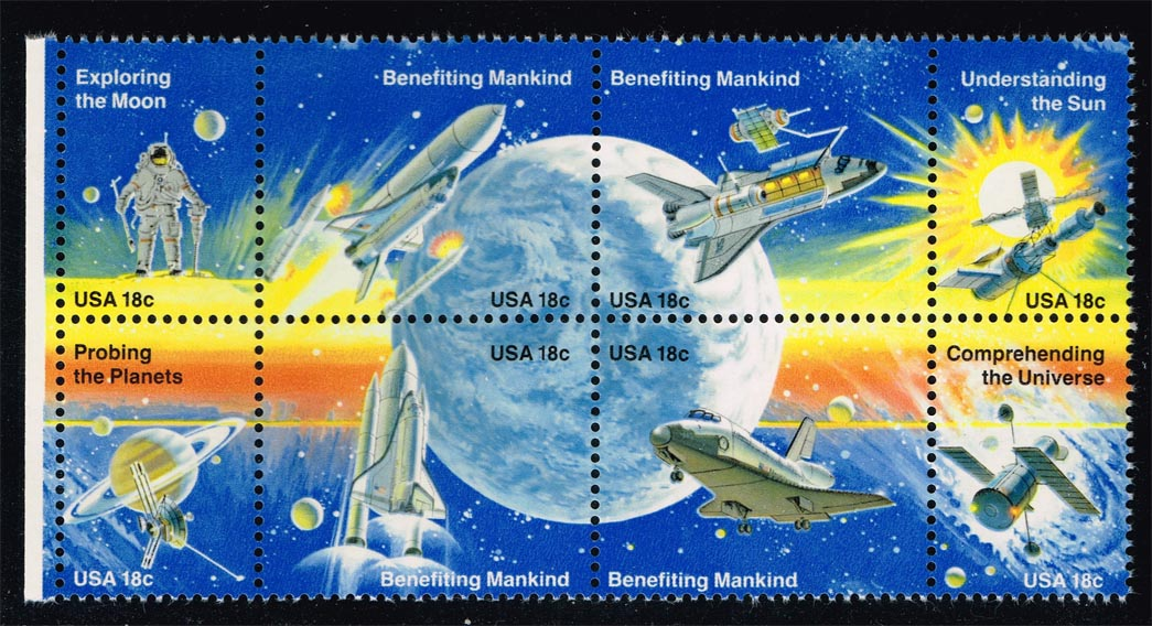 US #1919a Space Achievement Block of 8, MNH (3.25)