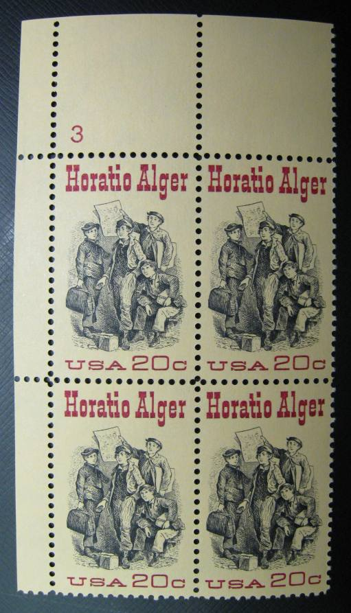 US #2010 Horatio Alger; MNH Plate # Block of 4 (1.75)