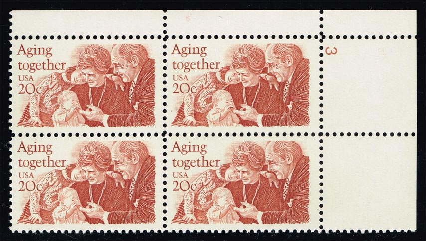 US #2011 Aging Together P# Block of 4; MNH (1.75)