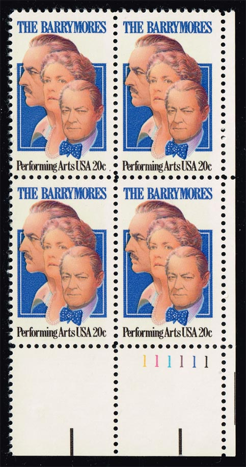 US #2012 The Barrymores; MNH P# Block of 4 (1.75)