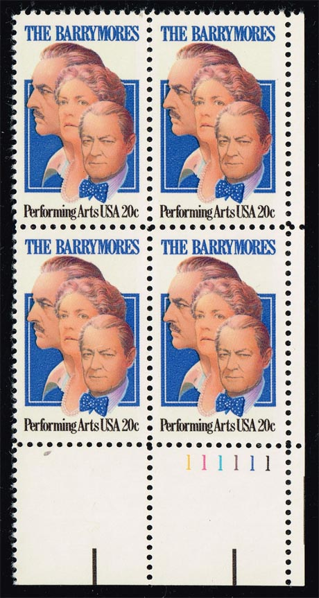 US #2012 The Barrymores P# Block of 4; MNH (1.75)