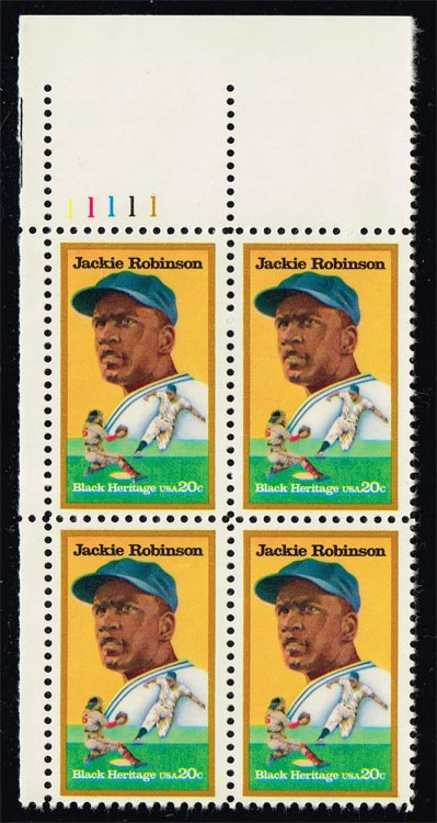US #2016 Jackie Robinson Plate # Block of 4; MNH (6.00)