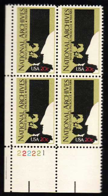 US #2081 National Archives P# Block of 4; MNH (2.00)