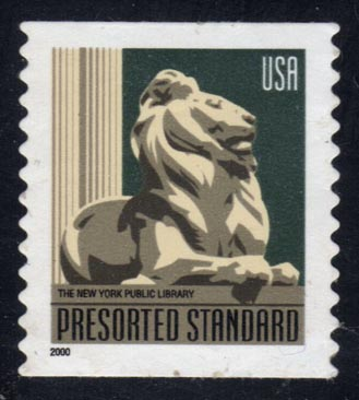 US #3447 New York Public Library Lion, used (0.25)