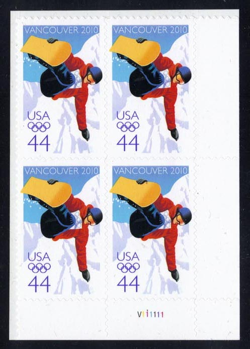 US #4436 Olympic Snowboarder Plate # Block of 4; MNH (4.00)