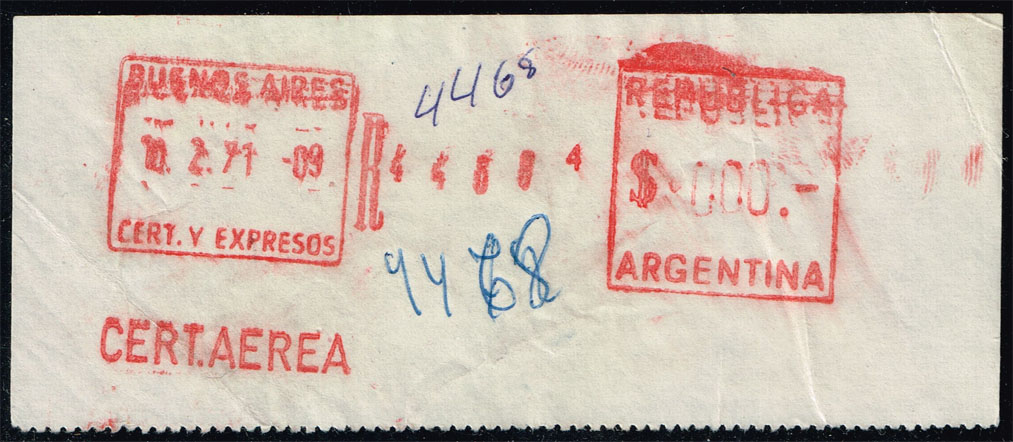 Argentina Registered Air Mail Meter