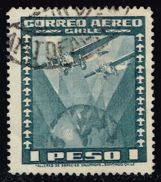 Chile #C39 Two Airplanes over Globe; Used (0.25)