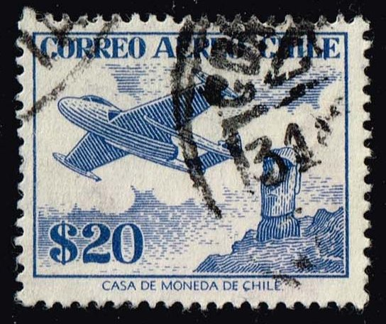 Chile #C185 Plane over Easter Island; Used (0.25)
