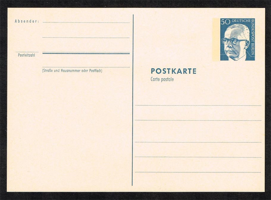 Germany Gustav Heinemann Postal Card with Tagging