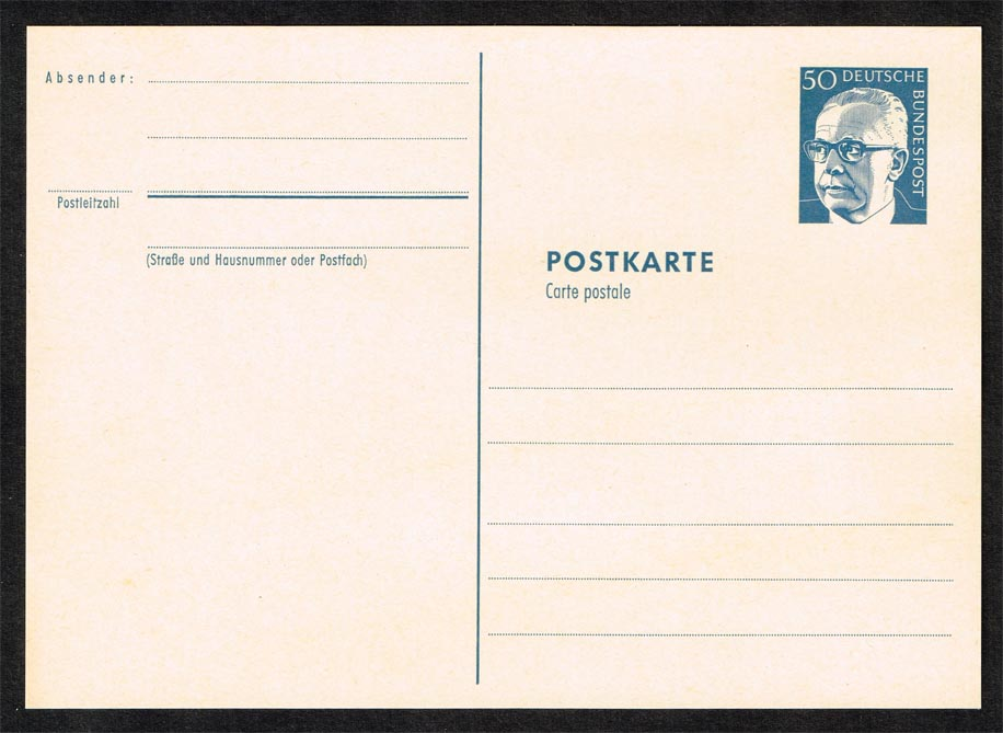 Germany Gustav Heinemann Postal Card