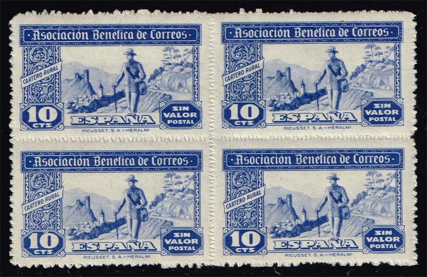 Spain Charity Label Cinderella Block of 4; MNH