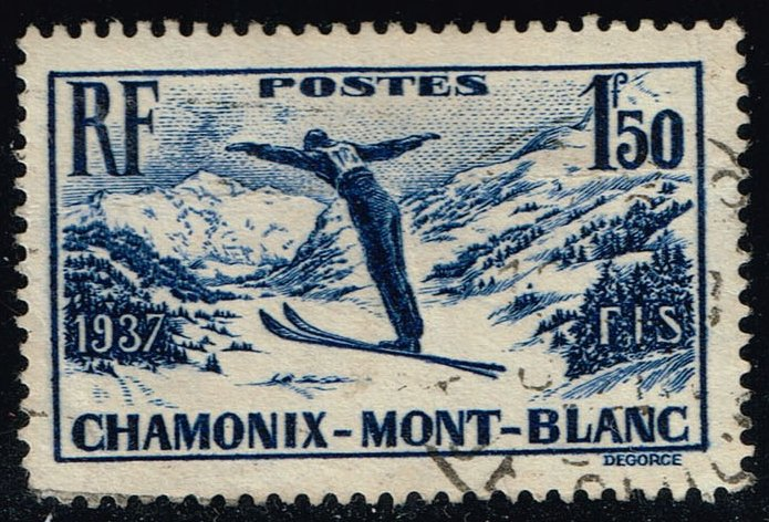 France #322 Skiing on Mont Blanc; Used (1.75)