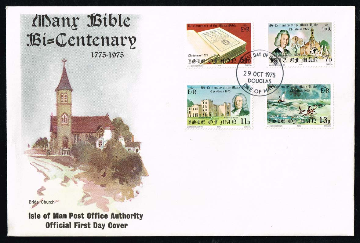 Isle of Man #74-77 Manx Bible Bicentenary Official FDC