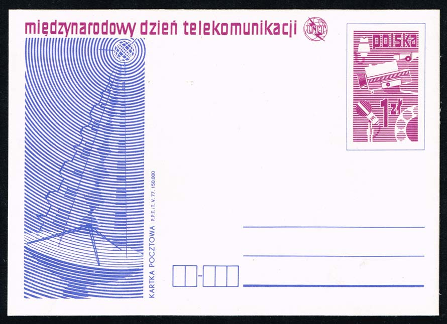 Poland Postal Card Ruch #CP 673 Int. Telecomm. Day; Mint