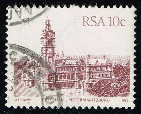 South Africa #576 City Hall in Pietermaritzburg; Used (0.25)