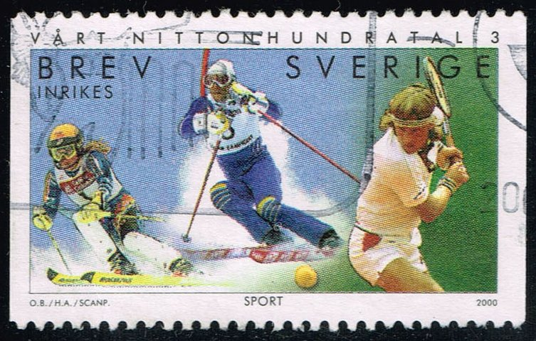 Sweden #2387 Skiers and Bjorn Borg; Used (1.40)