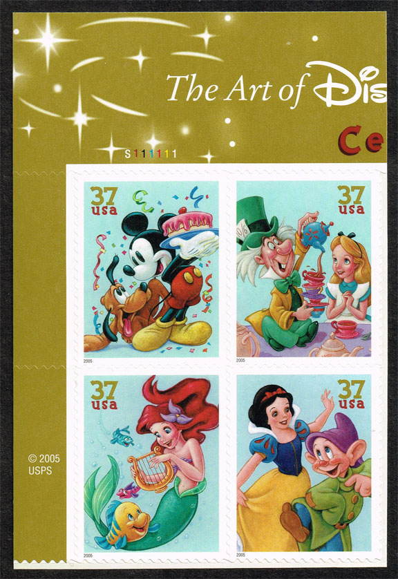 US #3915a Disney Characters Plate # Block of 4; MNH (3.40)