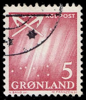 Greenland #49 Northern Lights - Crossed Anchors; Used (0.35)