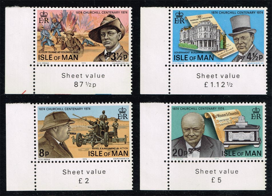 Isle of Man #48-51 Churchill Centenary Set of 4; MNH (1.40)