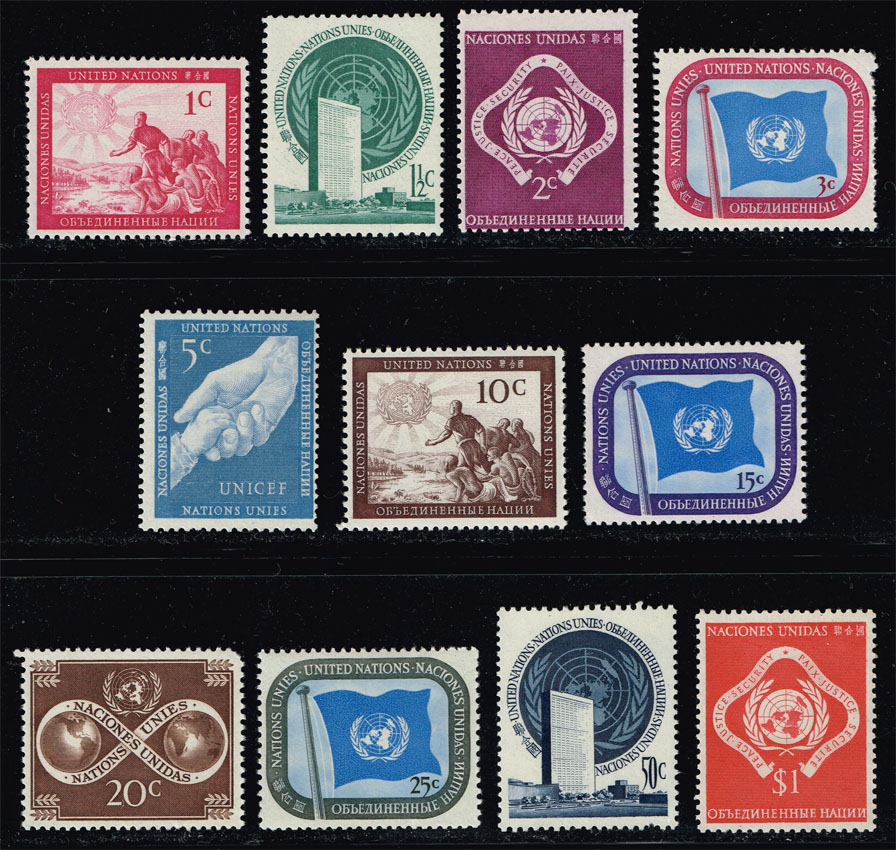UN New York #1-11 Set of 11; MNH (8.15)